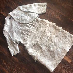 Silver/Metallic 2-piece Sheath Ruffle Dress Sz 12P